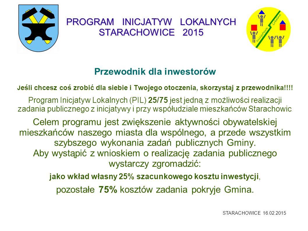 PROGRAM INICJATYW LOKALNYCH STARACHOWICE 2015 Realizacja inwestycji.