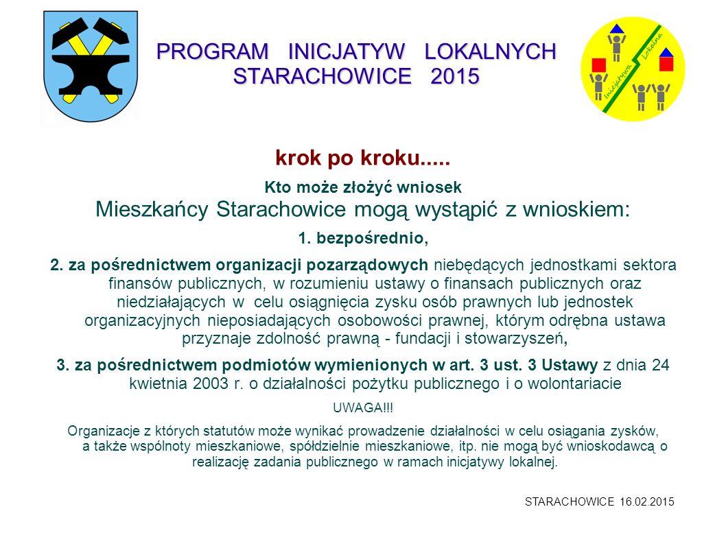 PROGRAM INICJATYW LOKALNYCH STARACHOWICE 2015 krok po kroku..... Kto może złożyć wniosek Mieszkańcy Starachowice mogą wystąpić z wnioskiem: 1. bezpośr
