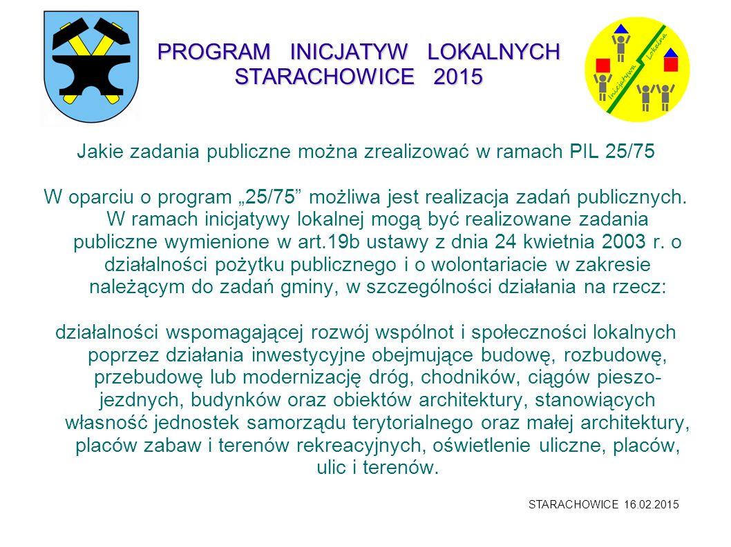 """PROGRAM INICJATYW LOKALNYCH STARACHOWICE 2015 Jakie zadania publiczne można zrealizować w ramach PIL 25/75 W oparciu o program """"25/75"""" możliwa jest re"""