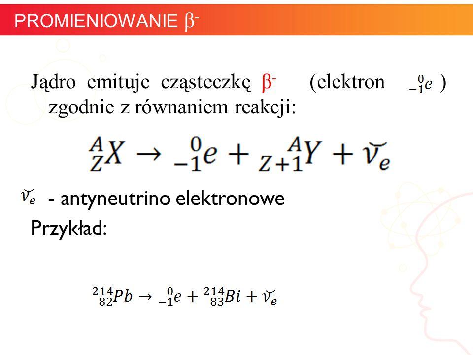 Jądro emituje cząsteczkę β - (elektron ) zgodnie z równaniem reakcji: - antyneutrino elektronowe Przykład: informatyka + 11 PROMIENIOWANIE β -