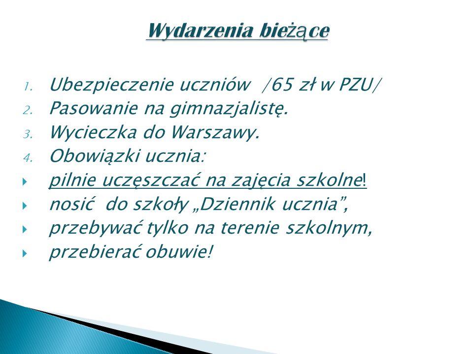 1. Ubezpieczenie uczniów /65 zł w PZU/ 2. Pasowanie na gimnazjalistę.