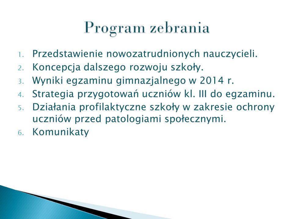 1. Przedstawienie nowozatrudnionych nauczycieli. 2.