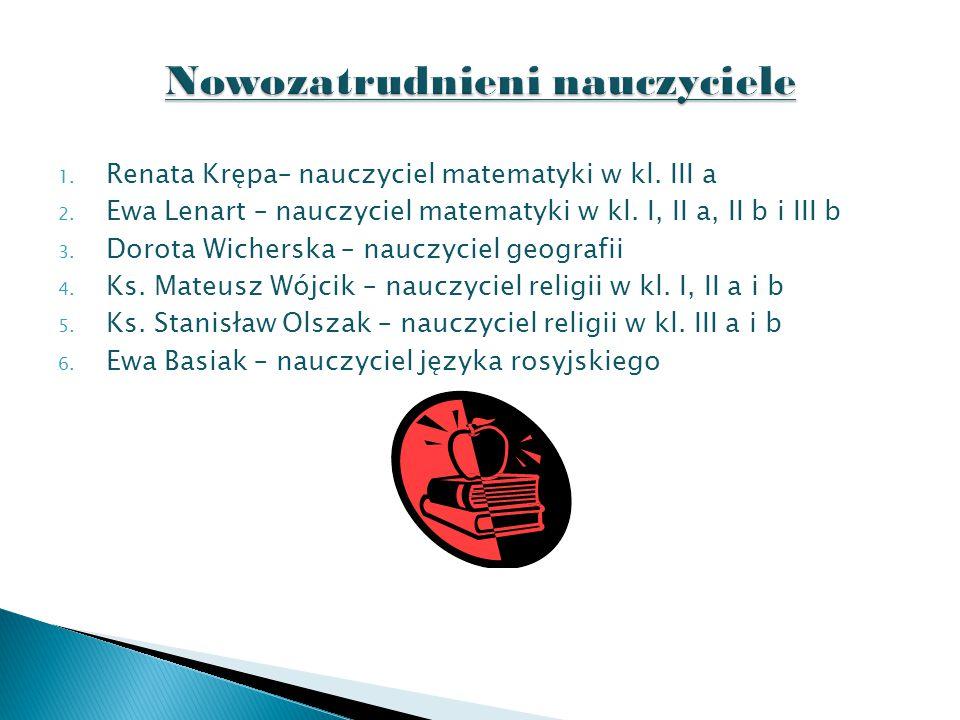 1. Renata Krępa– nauczyciel matematyki w kl. III a 2.
