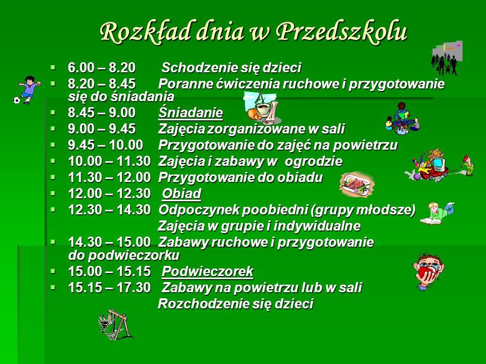 Rozkład dnia w Przedszkolu  6.00 – 8.20 Schodzenie się dzieci  8.20 – 8.45 Poranne ćwiczenia ruchowe i przygotowanie się do śniadania  8.45 – 9.00 Śniadanie  9.00 – 9.45 Zajęcia zorganizowane w sali  9.45 – 10.00 Przygotowanie do zajęć na powietrzu  10.00 – 11.30 Zajęcia i zabawy w ogrodzie  11.30 – 12.00 Przygotowanie do obiadu  12.00 – 12.30 Obiad  12.30 – 14.30 Odpoczynek poobiedni (grupy młodsze) Zajęcia w grupie i indywidualne Zajęcia w grupie i indywidualne  14.30 – 15.00 Zabawy ruchowe i przygotowanie do podwieczorku  15.00 – 15.15 Podwieczorek  15.15 – 17.30 Zabawy na powietrzu lub w sali Rozchodzenie się dzieci Rozchodzenie się dzieci