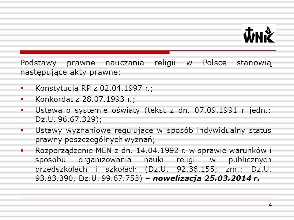 4 Podstawy prawne nauczania religii w Polsce stanowią następujące akty prawne:  Konstytucja RP z 02.04.1997 r.;  Konkordat z 28.07.1993 r.;  Ustawa