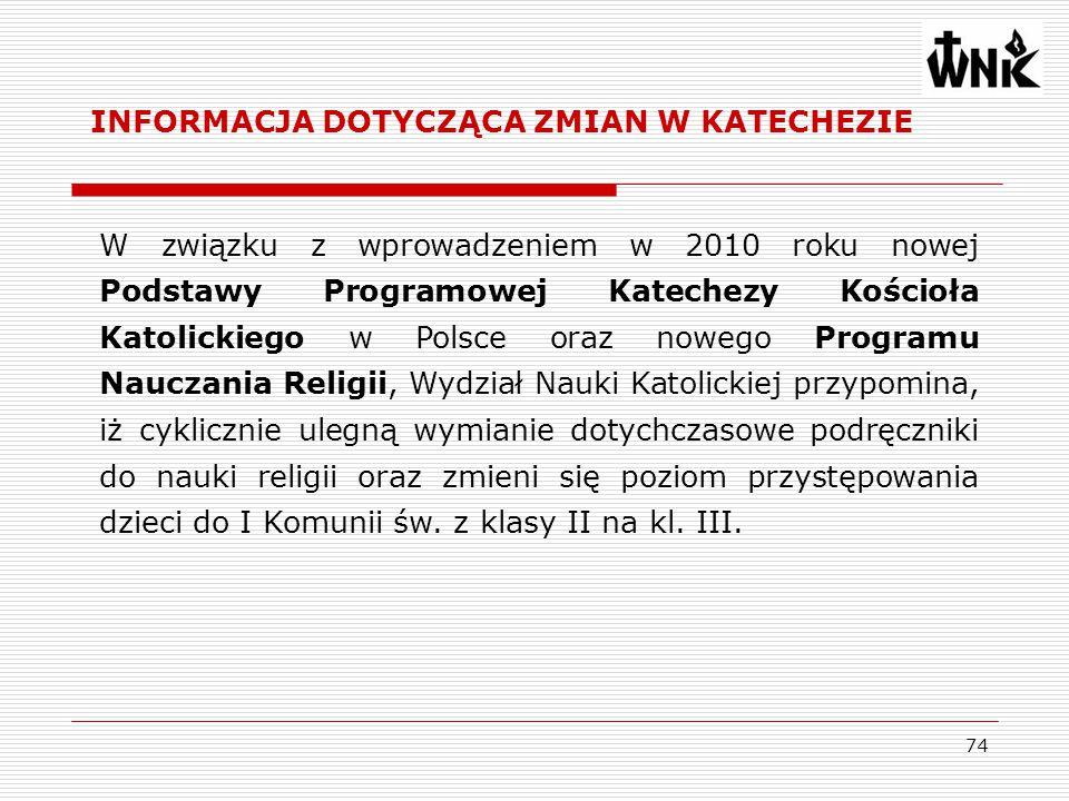 74 W związku z wprowadzeniem w 2010 roku nowej Podstawy Programowej Katechezy Kościoła Katolickiego w Polsce oraz nowego Programu Nauczania Religii, W