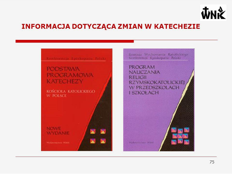 75 INFORMACJA DOTYCZĄCA ZMIAN W KATECHEZIE
