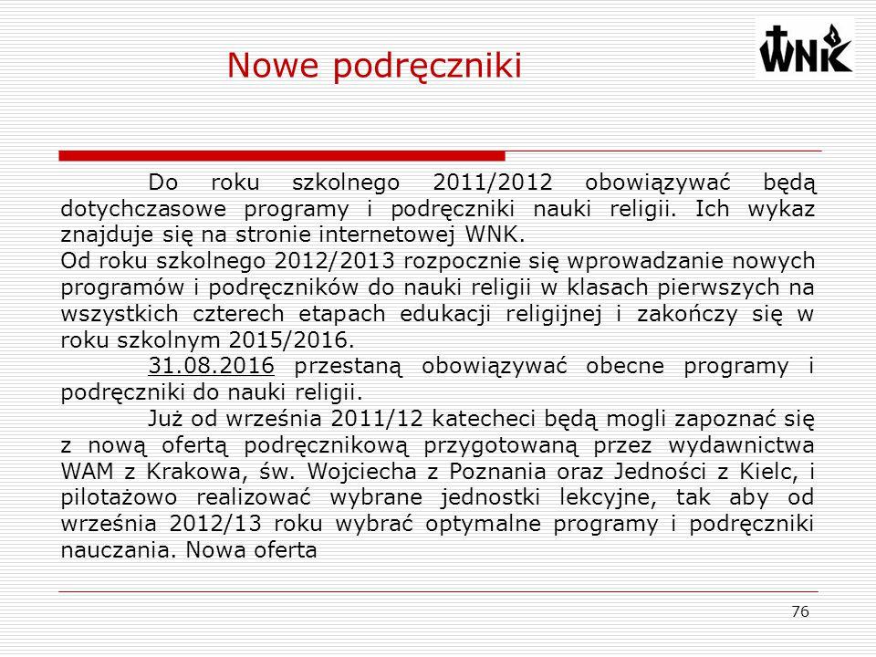 76 Do roku szkolnego 2011/2012 obowiązywać będą dotychczasowe programy i podręczniki nauki religii. Ich wykaz znajduje się na stronie internetowej WNK