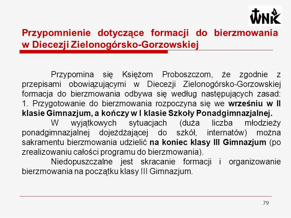 79 Przypomnienie dotyczące formacji do bierzmowania w Diecezji Zielonogórsko-Gorzowskiej Przypomina się Księżom Proboszczom, że zgodnie z przepisami o
