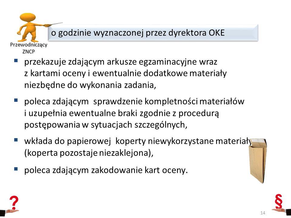  przekazuje zdającym arkusze egzaminacyjne wraz z kartami oceny i ewentualnie dodatkowe materiały niezbędne do wykonania zadania,  poleca zdającym s