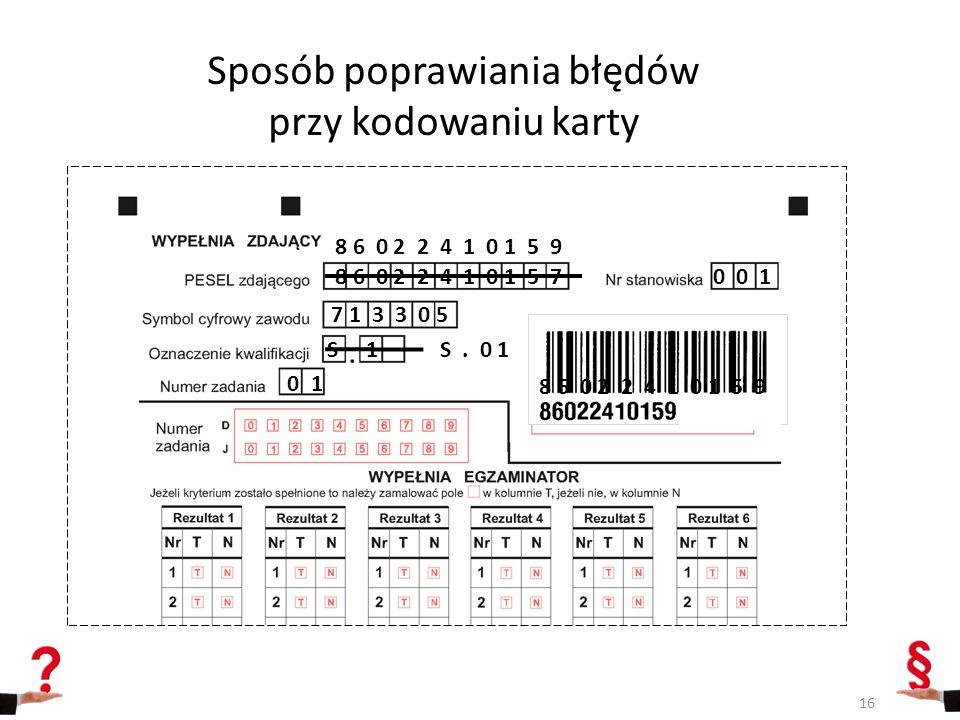 Sposób poprawiania błędów przy kodowaniu karty 8 6 0 2 2 4 1 0 1 5 70 0 1 7 1 3 3 0 5 S 1 0 1 8 6 0 2 2 4 1 0 1 5 9 S. 0 1 8 6 0 2 2 4 1 0 1 5 9 16