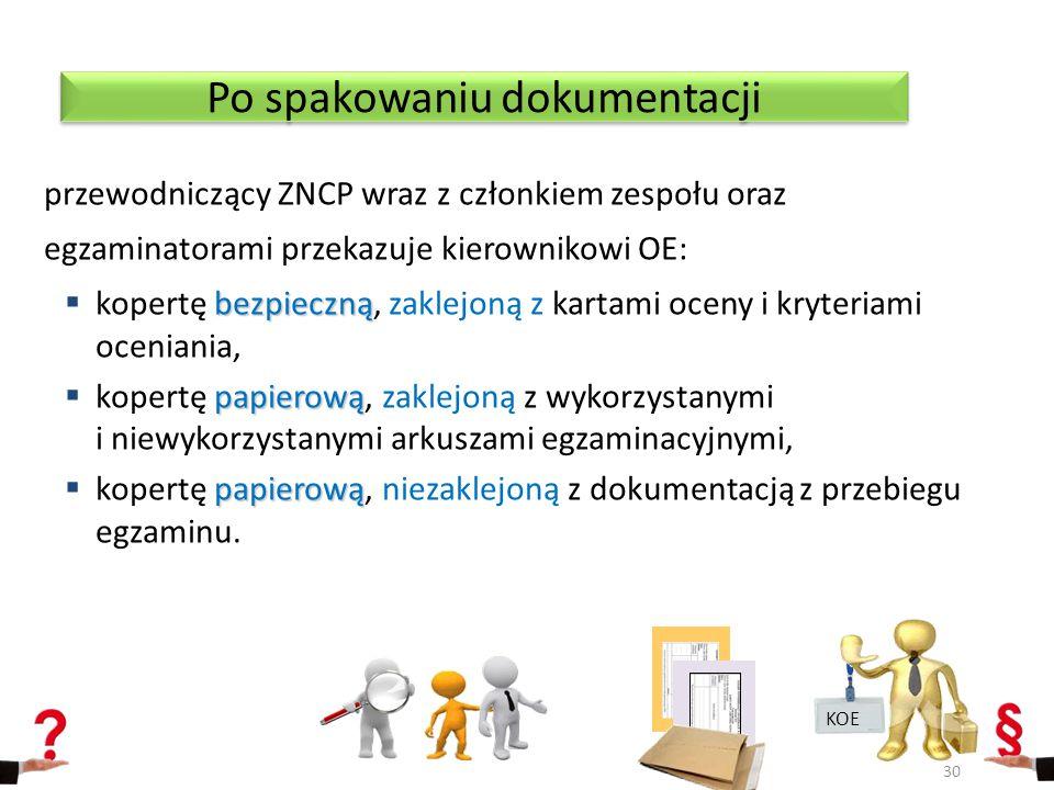 przewodniczący ZNCP wraz z członkiem zespołu oraz egzaminatorami przekazuje kierownikowi OE: bezpieczną  kopertę bezpieczną, zaklejoną z kartami oce