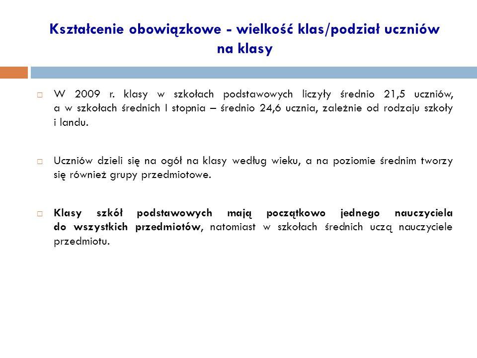 Kształcenie obowiązkowe - wielkość klas/podział uczniów na klasy  W 2009 r.