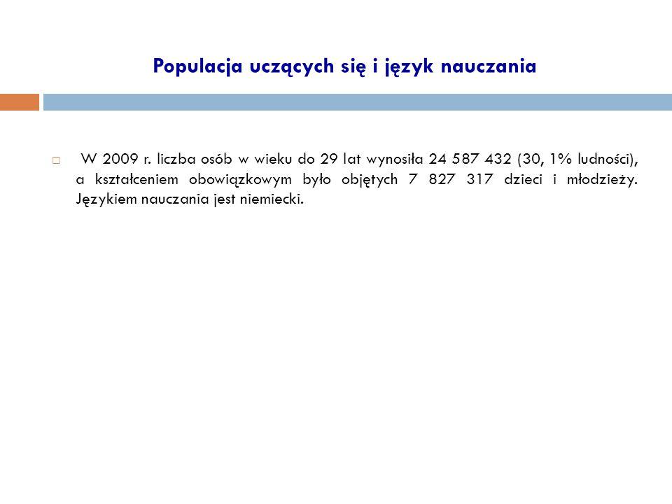 Populacja uczących się i język nauczania  W 2009 r. liczba osób w wieku do 29 lat wynosiła 24 587 432 (30, 1% ludności), a kształceniem obowiązkowym