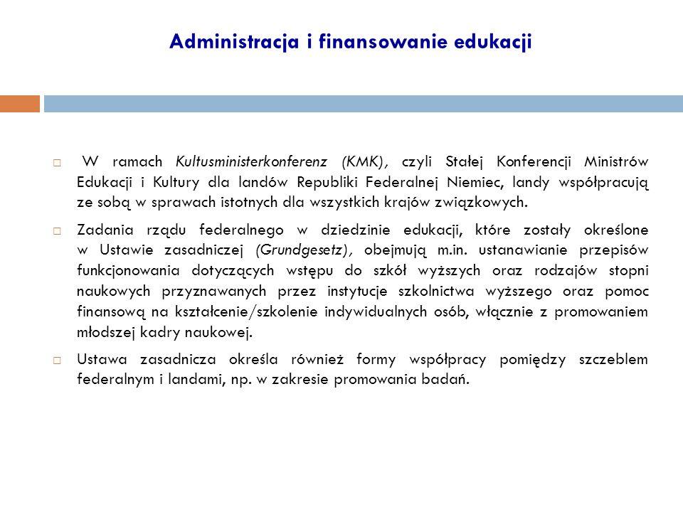 Administracja i finansowanie edukacji  W ramach Kultusministerkonferenz (KMK), czyli Stałej Konferencji Ministrów Edukacji i Kultury dla landów Repub
