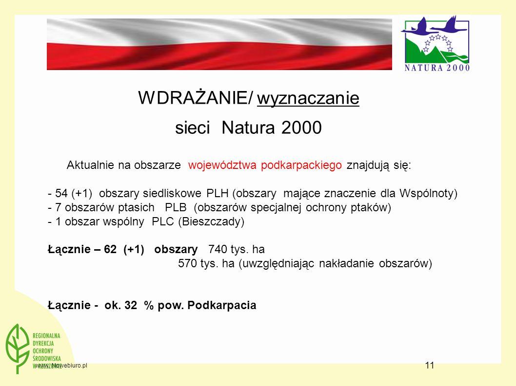11 WDRAŻANIE/ wyznaczanie sieci Natura 2000 Aktualnie na obszarze województwa podkarpackiego znajdują się: - 54 (+1) obszary siedliskowe PLH (obszary