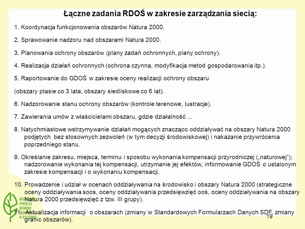 Łączne zadania RDOŚ w zakresie zarządzania siecią: 1. Koordynacja funkcjonowania obszarów Natura 2000. 2. Sprawowanie nadzoru nad obszarami Natura 200