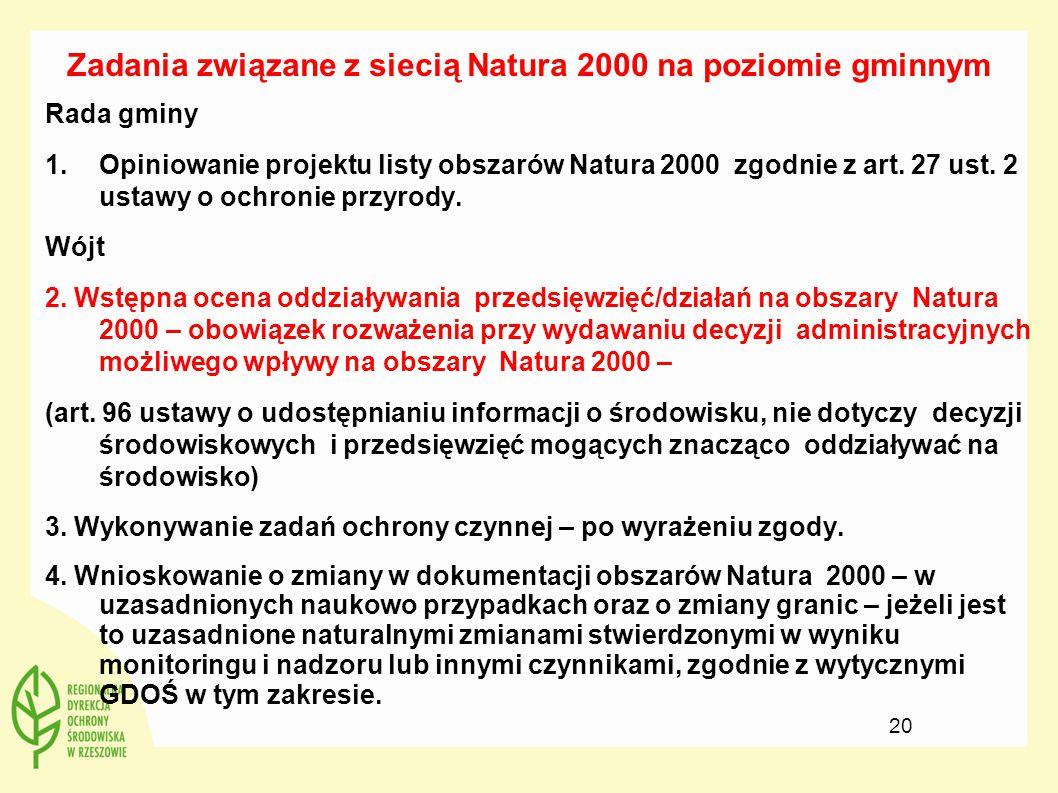 Zadania związane z siecią Natura 2000 na poziomie gminnym Rada gminy 1.Opiniowanie projektu listy obszarów Natura 2000 zgodnie z art. 27 ust. 2 ustawy