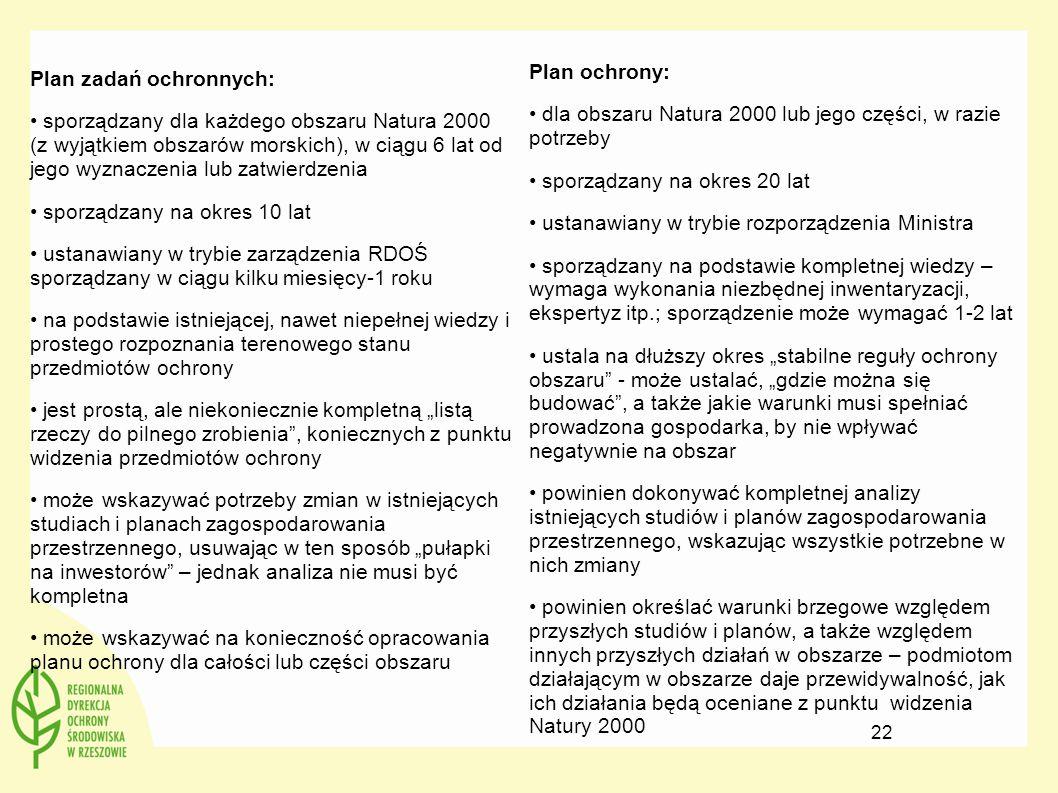 Plan zadań ochronnych: sporządzany dla każdego obszaru Natura 2000 (z wyjątkiem obszarów morskich), w ciągu 6 lat od jego wyznaczenia lub zatwierdzeni