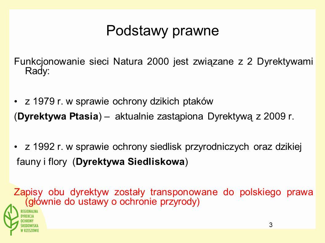 Podstawy prawne Funkcjonowanie sieci Natura 2000 jest związane z 2 Dyrektywami Rady: z 1979 r. w sprawie ochrony dzikich ptaków (Dyrektywa Ptasia) – a
