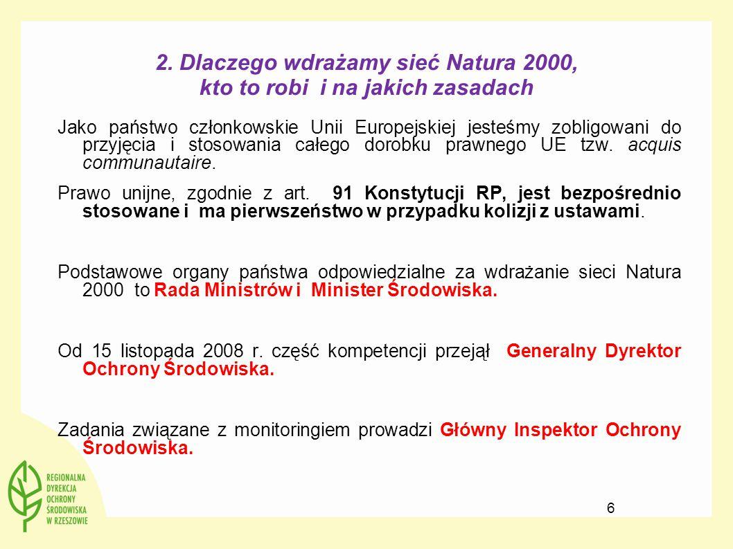 2. Dlaczego wdrażamy sieć Natura 2000, kto to robi i na jakich zasadach Jako państwo członkowskie Unii Europejskiej jesteśmy zobligowani do przyjęcia