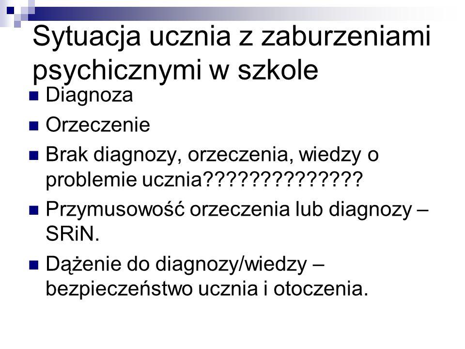 Sytuacja ucznia z zaburzeniami psychicznymi w szkole Diagnoza Orzeczenie Brak diagnozy, orzeczenia, wiedzy o problemie ucznia?????????????? Przymusowo