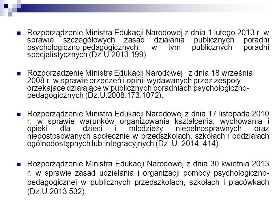 Rozporządzenie Ministra Edukacji Narodowej z dnia 1 lutego 2013 r. w sprawie szczegółowych zasad działania publicznych poradni psychologiczno-pedagogi