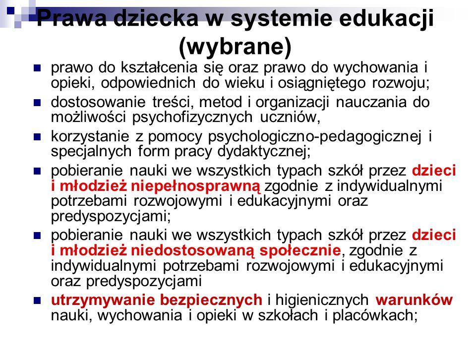 Prawa dziecka w systemie edukacji (wybrane) prawo do kształcenia się oraz prawo do wychowania i opieki, odpowiednich do wieku i osiągniętego rozwoju;