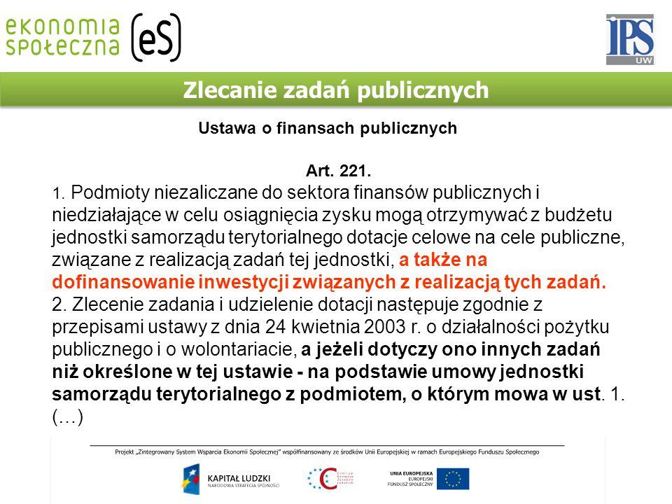 Zlecanie zadań publicznych Art. 221. 1. Podmioty niezaliczane do sektora finansów publicznych i niedziałające w celu osiągnięcia zysku mogą otrzymywać