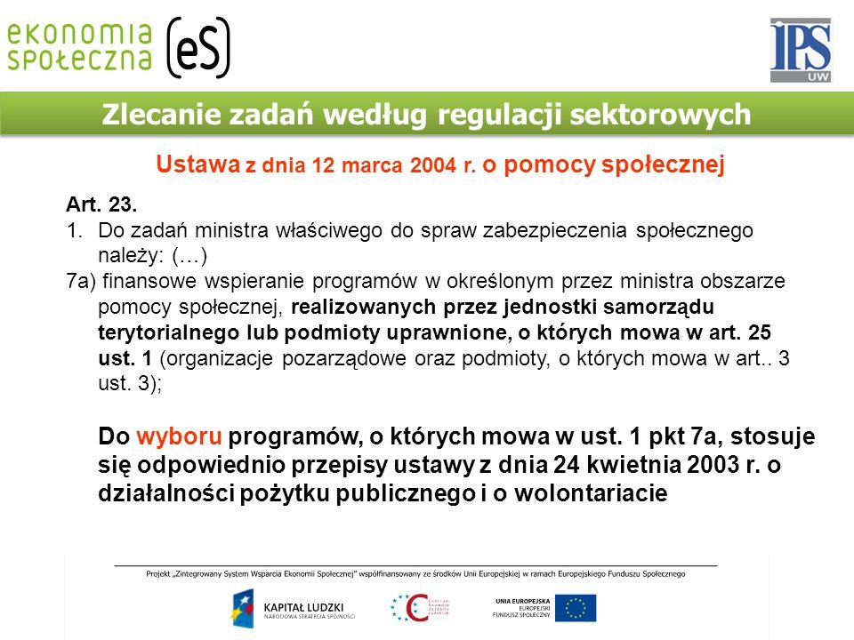 Zlecanie zadań według regulacji sektorowych Ustawa z dnia 12 marca 2004 r. o pomocy społecznej Art. 23. 1.Do zadań ministra właściwego do spraw zabezp