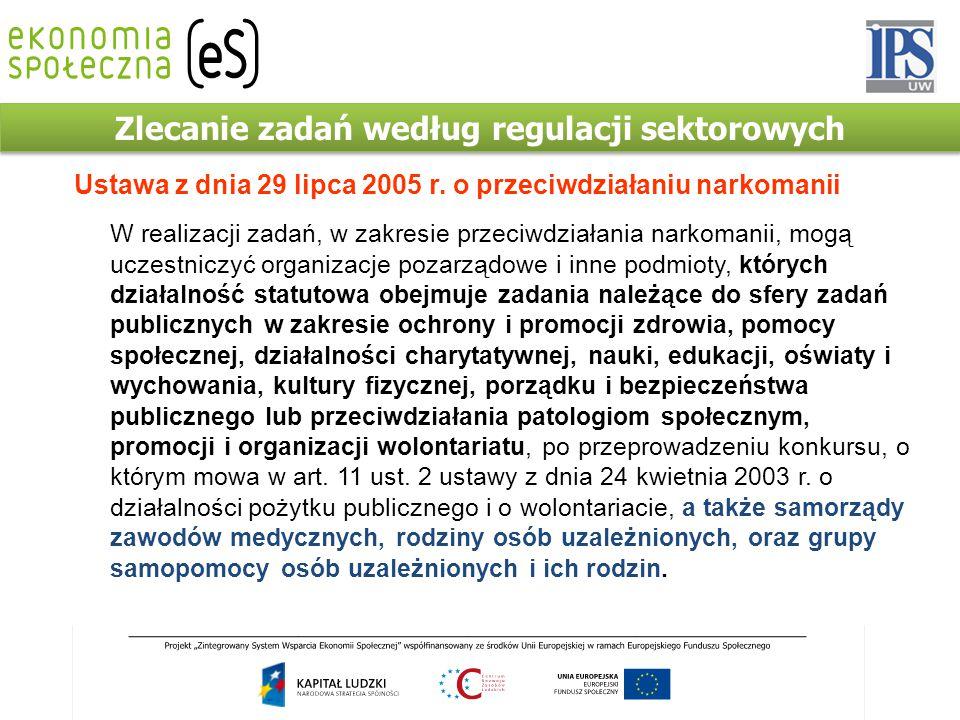 Zlecanie zadań według regulacji sektorowych Ustawa z dnia 29 lipca 2005 r. o przeciwdziałaniu narkomanii W realizacji zadań, w zakresie przeciwdziałan