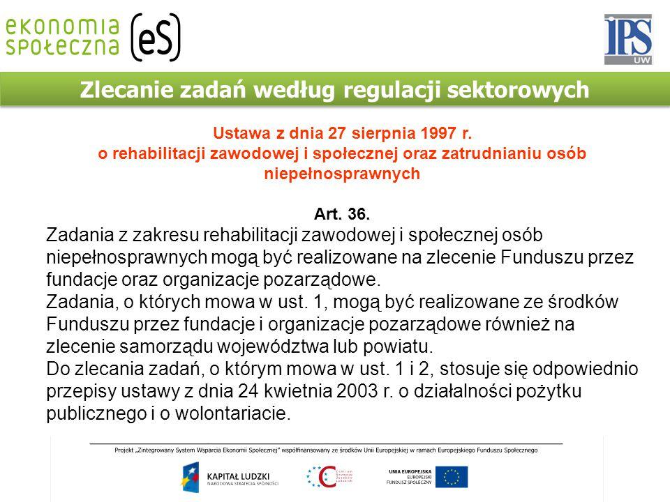 Zlecanie zadań według regulacji sektorowych Ustawa z dnia 27 sierpnia 1997 r. o rehabilitacji zawodowej i społecznej oraz zatrudnianiu osób niepełnosp