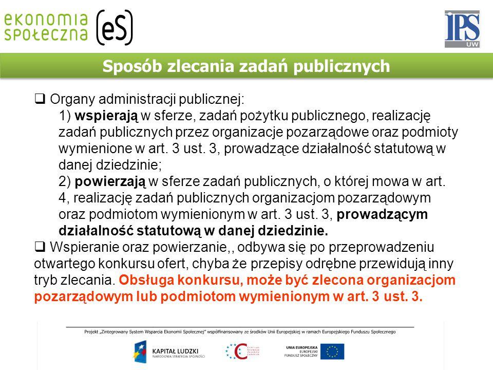 Sposób zlecania zadań publicznych  Organy administracji publicznej: 1) wspierają w sferze, zadań pożytku publicznego, realizację zadań publicznych pr