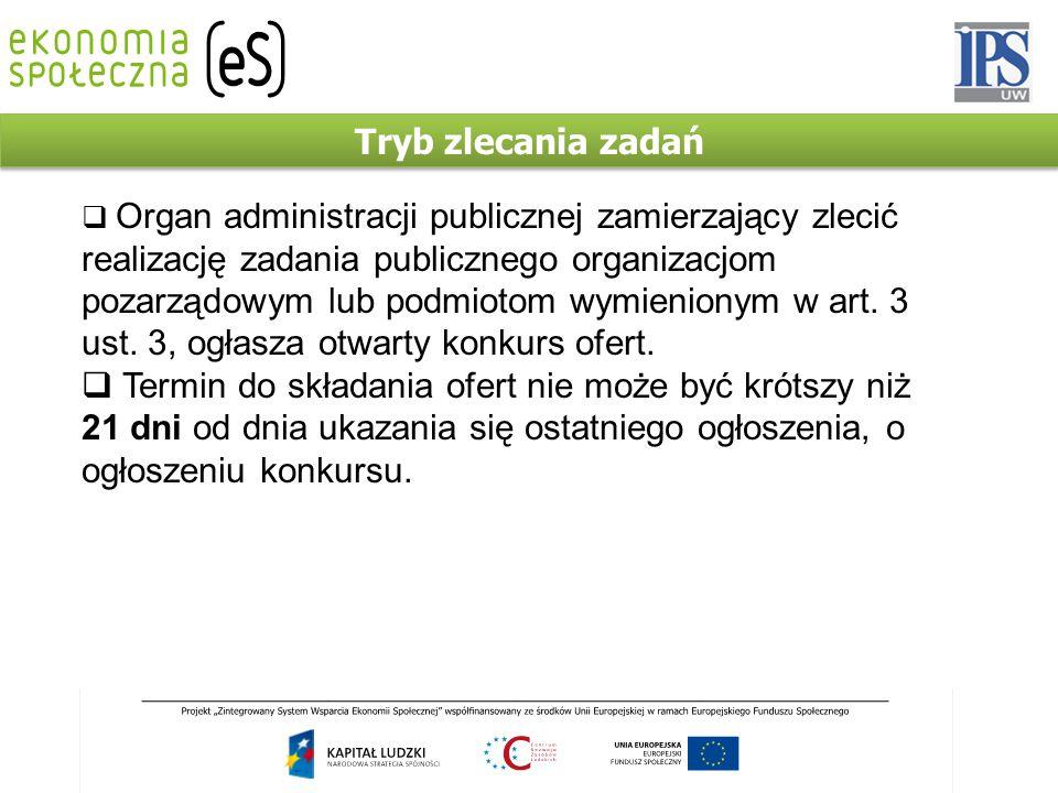 Tryb zlecania zadań  Organ administracji publicznej zamierzający zlecić realizację zadania publicznego organizacjom pozarządowym lub podmiotom wymien