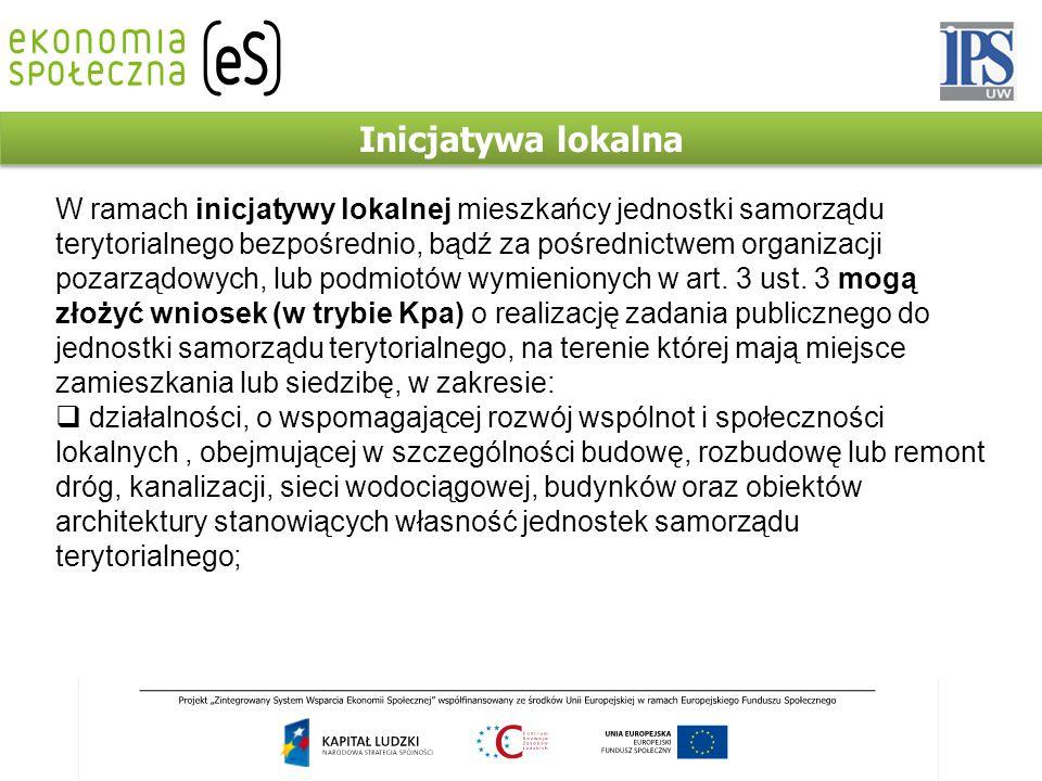 Inicjatywa lokalna W ramach inicjatywy lokalnej mieszkańcy jednostki samorządu terytorialnego bezpośrednio, bądź za pośrednictwem organizacji pozarząd