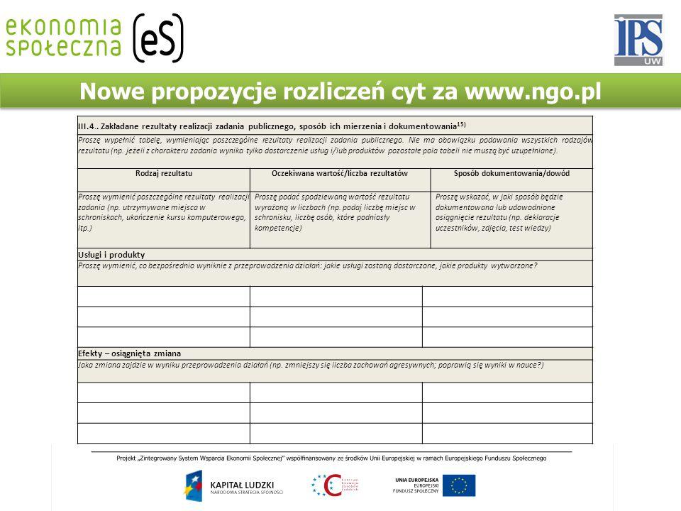III.4.. Zakładane rezultaty realizacji zadania publicznego, sposób ich mierzenia i dokumentowania 15) Proszę wypełnić tabelę, wymieniając poszczególne