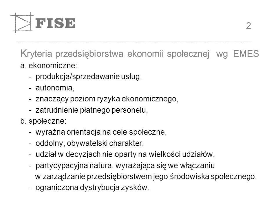 K ryteria przedsiębiorstwa ekonomii społecznej wg EMES a.