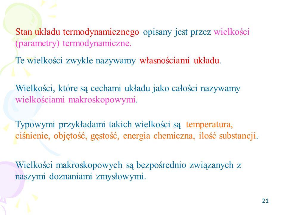 21 Stan układu termodynamicznego opisany jest przez wielkości (parametry) termodynamiczne.