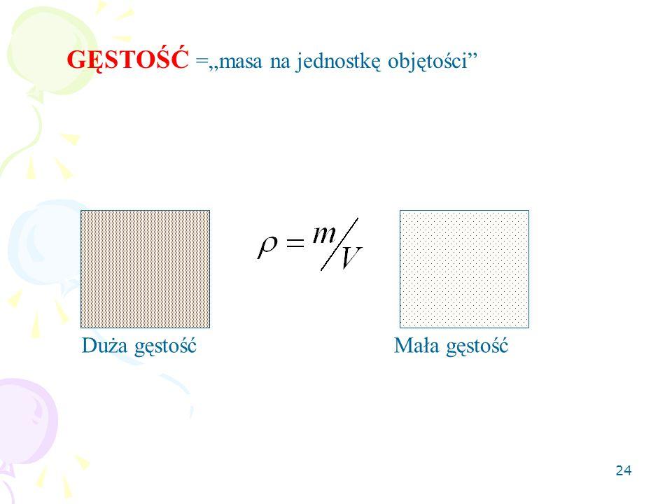 """24 GĘSTOŚĆ =""""masa na jednostkę objętości Duża gęstośćMała gęstość"""