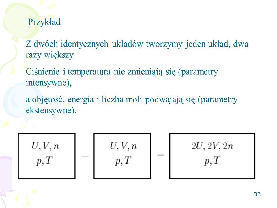 32 Przykład Z dwóch identycznych układów tworzymy jeden układ, dwa razy większy. Ciśnienie i temperatura nie zmieniają się (parametry intensywne), a o