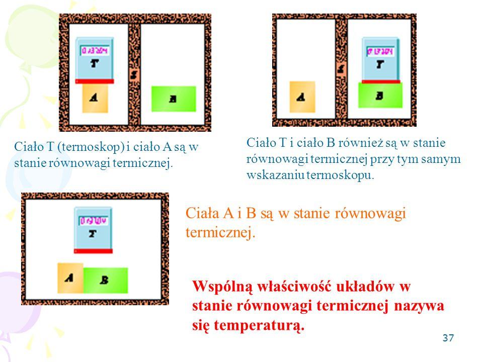 37 Ciało T (termoskop) i ciało A są w stanie równowagi termicznej. Ciało T i ciało B również są w stanie równowagi termicznej przy tym samym wskazaniu