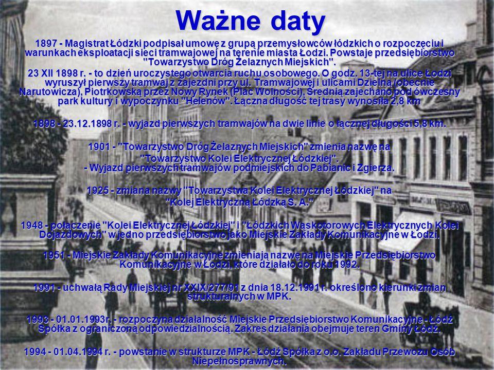 Ważne daty 1897 - Magistrat Łódzki podpisał umowę z grupą przemysłowców łódzkich o rozpoczęciu i warunkach eksploatacji sieci tramwajowej na terenie m