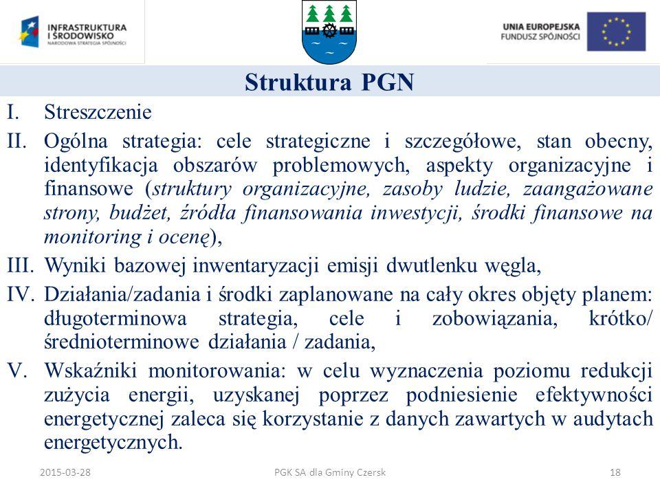 Struktura PGN I.Streszczenie II.Ogólna strategia: cele strategiczne i szczegółowe, stan obecny, identyfikacja obszarów problemowych, aspekty organizac