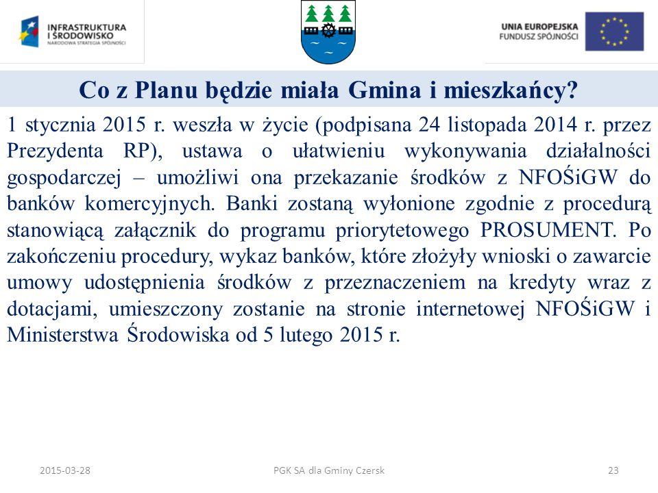Co z Planu będzie miała Gmina i mieszkańcy? 1 stycznia 2015 r. weszła w życie (podpisana 24 listopada 2014 r. przez Prezydenta RP), ustawa o ułatwieni