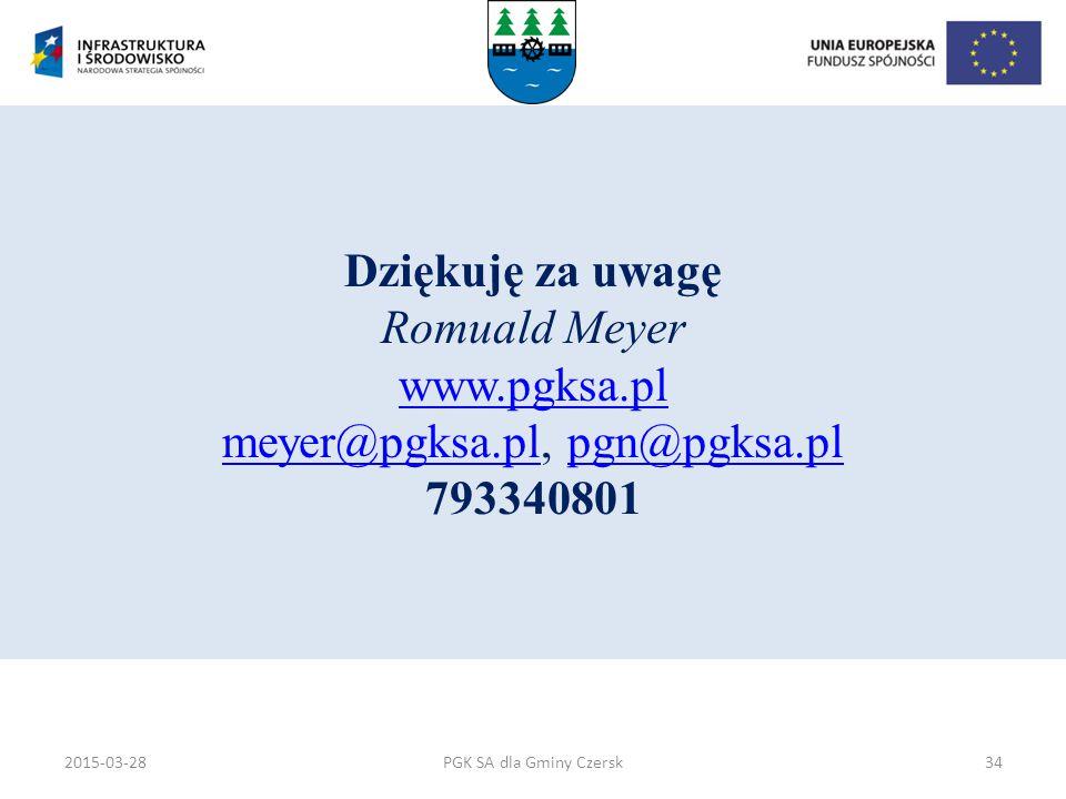 PGK SA dla Gminy Czersk Dziękuję za uwagę Romuald Meyer www.pgksa.pl meyer@pgksa.pl, pgn@pgksa.pl 793340801 www.pgksa.pl meyer@pgksa.plpgn@pgksa.pl 20