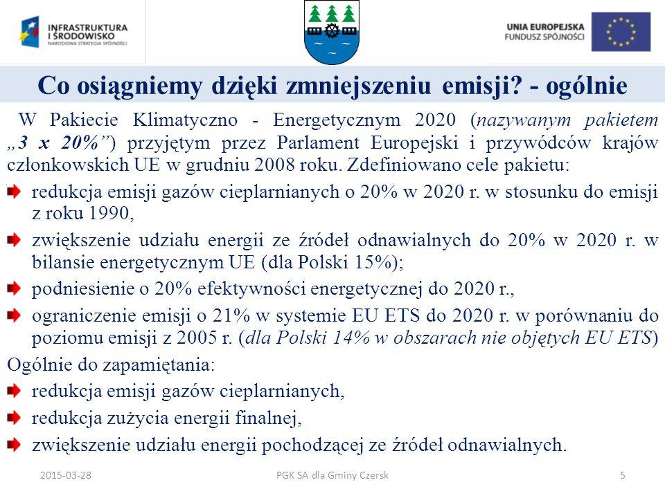 """Co osiągniemy dzięki zmniejszeniu emisji? - ogólnie W Pakiecie Klimatyczno - Energetycznym 2020 (nazywanym pakietem """"3 x 20%"""") przyjętym przez Parlame"""