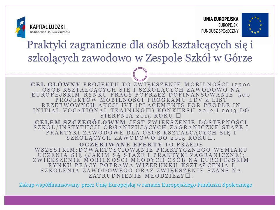 CEL GŁÓWNY PROJEKTU TO ZWIĘKSZENIE MOBILNOŚCI 12300 OSÓB KSZTAŁCĄCYCH SIĘ I SZKOLĄCYCH ZAWODOWO NA EUROPEJSKIM RYNKU PRACY POPRZEZ DOFINANSOWANIE 500 PROJEKTÓW MOBILNOŚCI PROGRAMU LDV Z LIST REZERWOWYCH AKCJI IVT (PLACEMENTS FOR PEOPLE IN INITIAL VOCATIONAL TRAINING) KONKURSU 2012 I 2013 DO SIERPNIA 2015 ROKU.