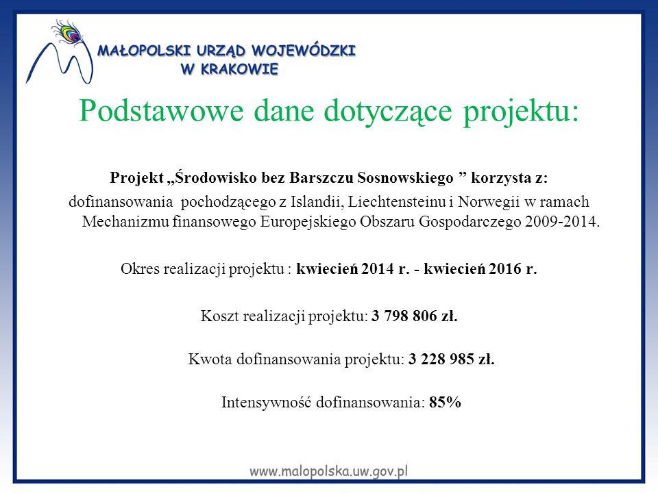 """Podstawowe dane dotyczące projektu: Projekt """"Środowisko bez Barszczu Sosnowskiego """" korzysta z: dofinansowania pochodzącego z Islandii, Liechtensteinu"""