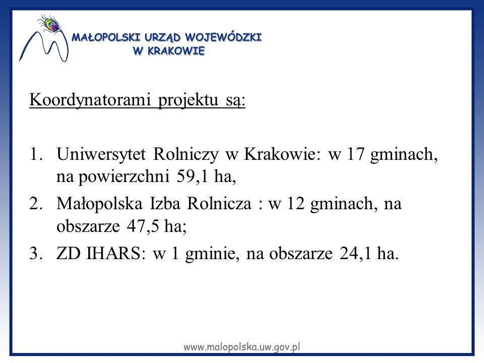 Koordynatorami projektu są: 1.Uniwersytet Rolniczy w Krakowie: w 17 gminach, na powierzchni 59,1 ha, 2.Małopolska Izba Rolnicza : w 12 gminach, na obs