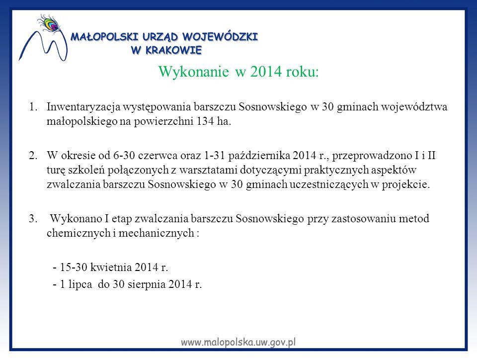 Wykonanie w 2014 roku: 1.Inwentaryzacja występowania barszczu Sosnowskiego w 30 gminach województwa małopolskiego na powierzchni 134 ha. 2.W okresie o